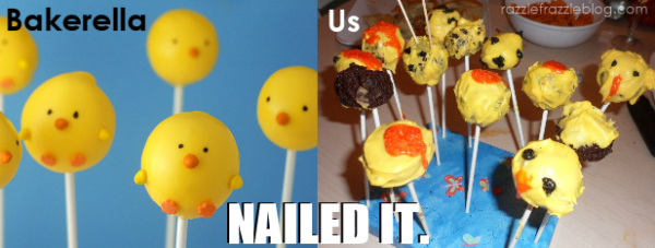 Easter chick cake pop fail - Razzle Frazzle