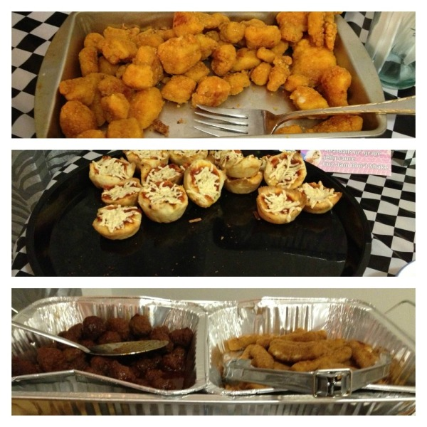 "Top to bottom: ""Two Piece (and a Biscuit)"" chicken tenders; ""Bitch, I am from Chicago!"" deep dish pizza bites (gluten and dairy free); Meatballs with grape jelly sauce ""cause jam don't shake""; La-Cheese Royale mozzarella sticks"