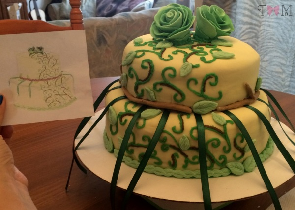 Side-by-side sketch comparison: Taylor Made Sweets and Treats nature-themed bridal shower cake