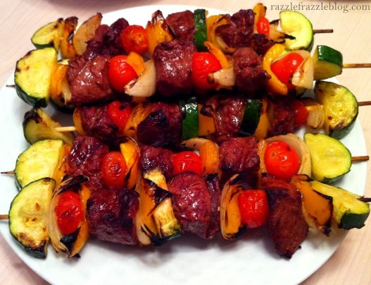 Grilled steak and vegetable skewers