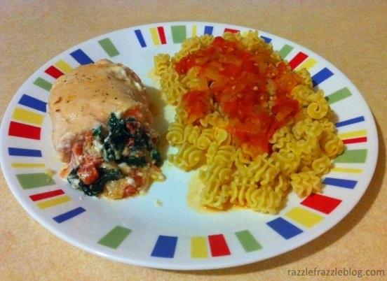 Tomato, spinach and goat cheese stuffed chicken (RazzleFrazzleBlog.com)