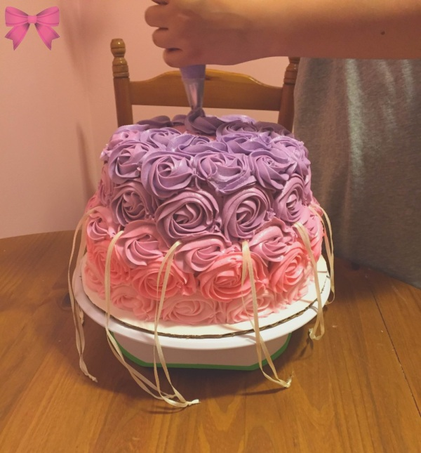 Ombre rose bridal shower cake by Taylor Made Sweets and Treats
